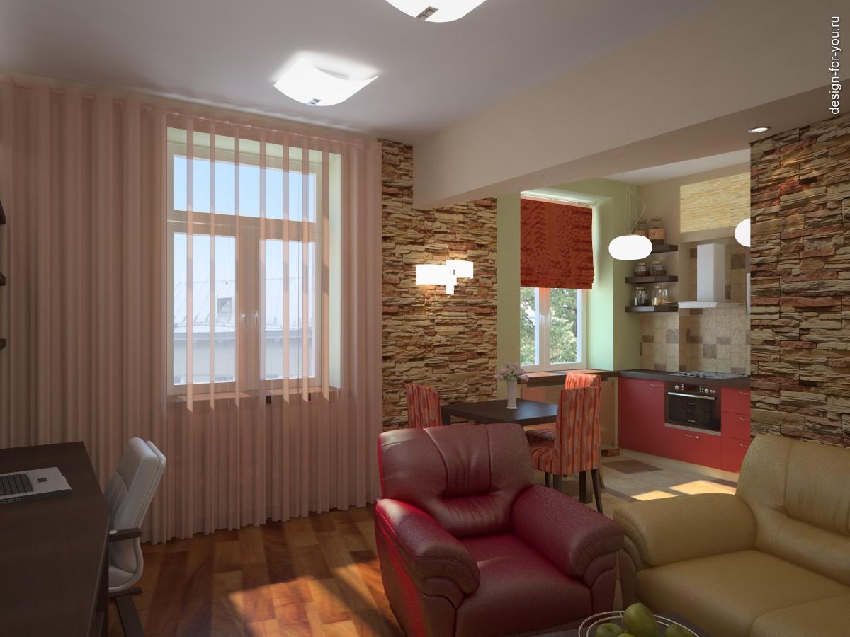 Фото 1 интерьер гостиной вид на кухню