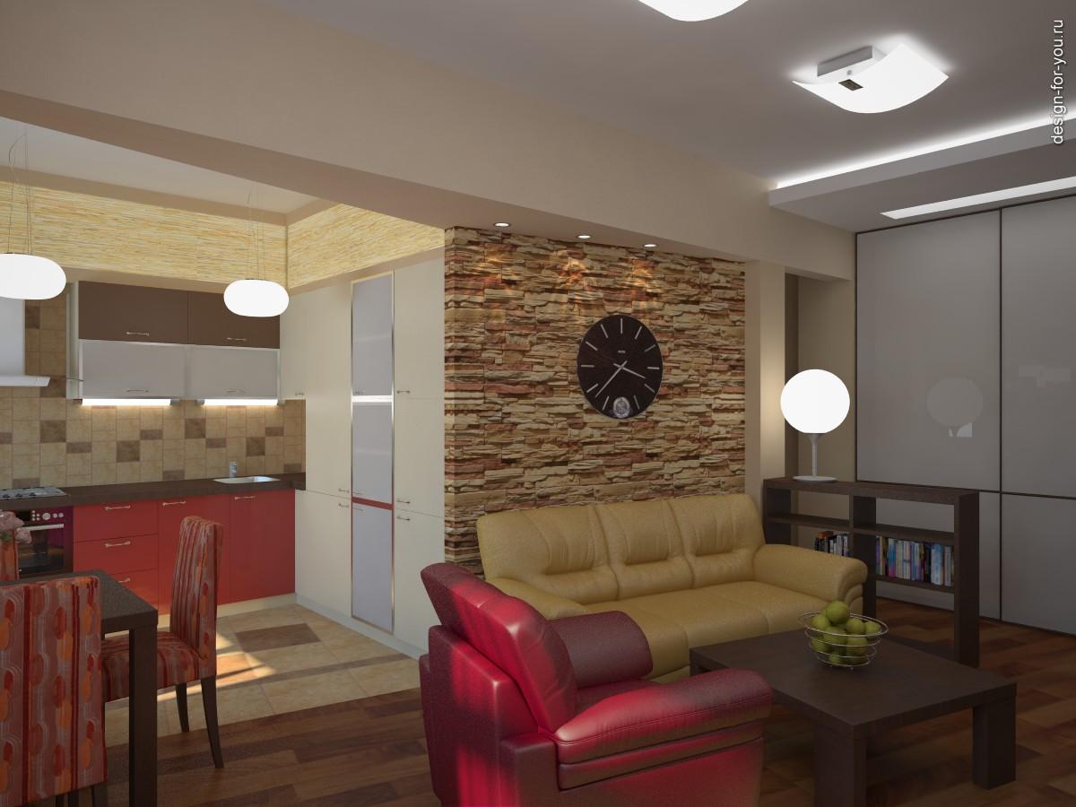Интерьер гостиной вид 4